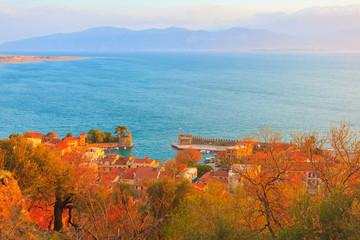 Greece Nafpactos panoramic port view, Central Greece