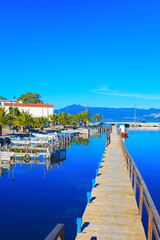 Greece, Beautifull wooden sea lake platform in Aitoliko in Centr