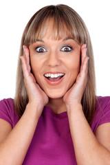Surprised blonde woman