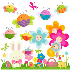 Autocollant pour porte Papillons easter background