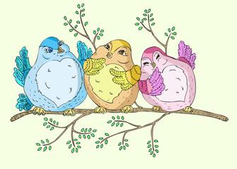Poster Oiseaux, Abeilles Spring birds