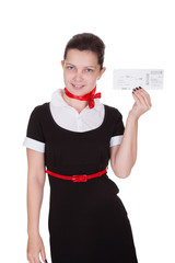 Stylish flight attendant with ticket