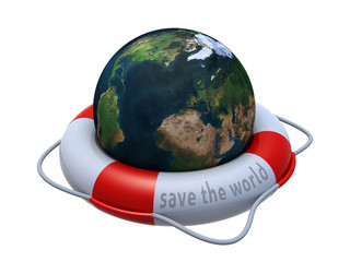 Earth globe in lifebuoy over white