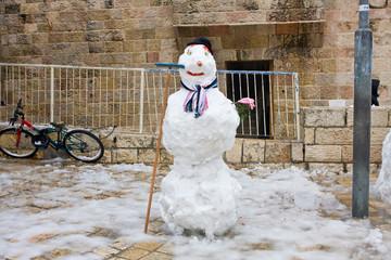 Snowman in Jerusalem