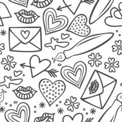 walentynki usta serce list miłosny deseń na białym tle
