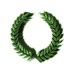 3D Green Laurel Wreath