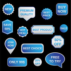 SIlver and blue set of stickers, labels, badges Vector