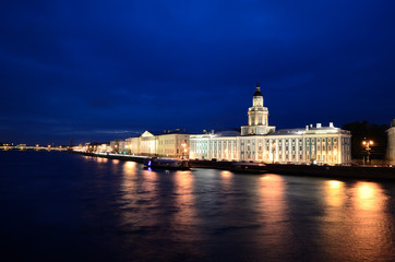 General view on Saint-Petersburg embankment at dusk