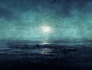 Ocean at night painting