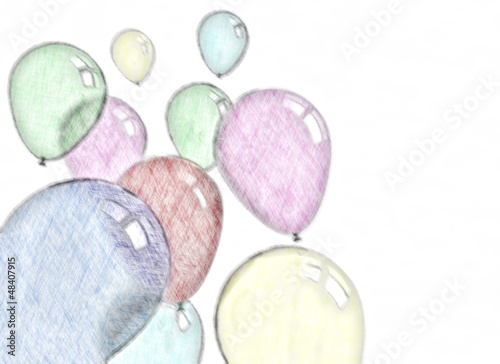 Balloons Colorful Pencil Sketch Stock Photo And Royalty Free Images