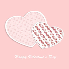 Valentine hearts card on pink background. Love concept illustrat