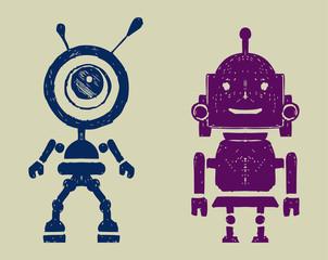 Spoed Foto op Canvas Robots Robot silhouettest. Doodle style