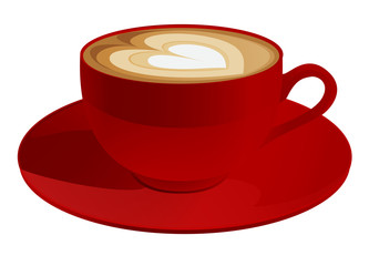 Red cup of cappuccino with heart symbol. Coffee