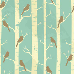 Door stickers Birds in the forest Vintage Birch Pattern