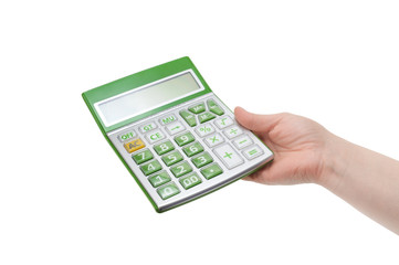 calculator in hand isolated on white background