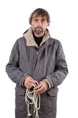 adult man holding rope