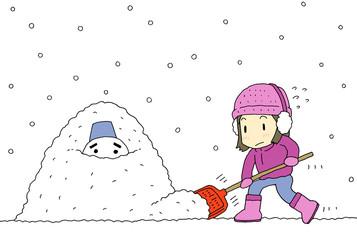雪かき女性