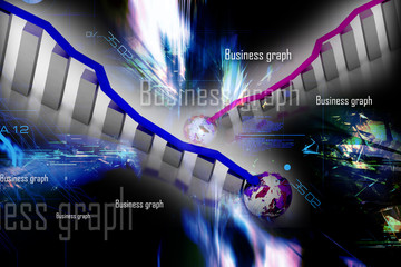 Business graph and earth