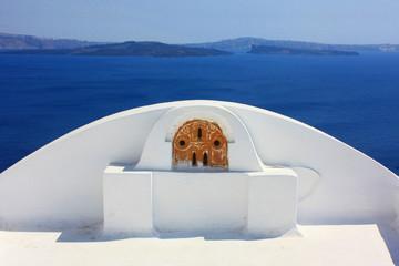 Fototapete - Grèce - Terrasse à Santorin