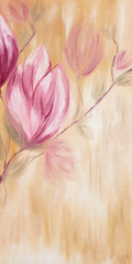 Oil painting of spring magnolia flowers