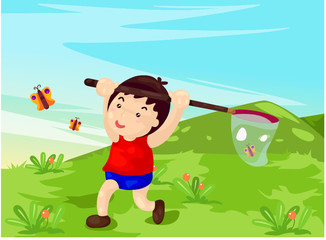 boy catching butterflies