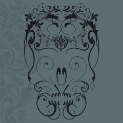 vector illustration of abstract floral ornaments skull