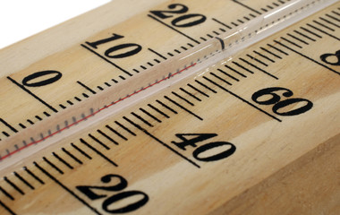 Wooden thermometer macro