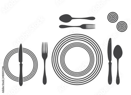 Etiquette Proper Table Setting silhouette