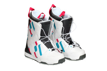Snowboard boots isolated on white with clipping path.