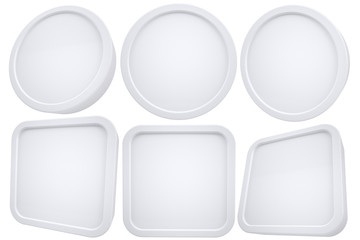 Oval and square white frames