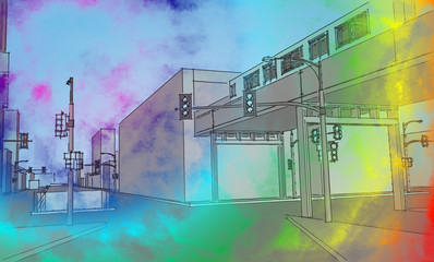 Poster urban sketch in pale rainbow colors