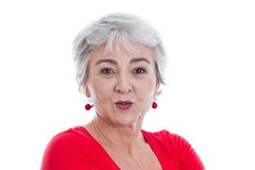 Ältere Frau mit Kussmund