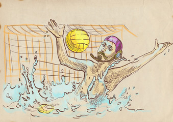 water polo, goalkeeper - hand drawing