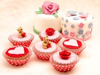 Wall Mural - Cupcakes de san valentin