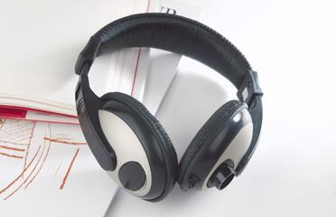 Headphone on the books.