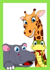 Illustration Of Zoo Animal Cartoon On Frame