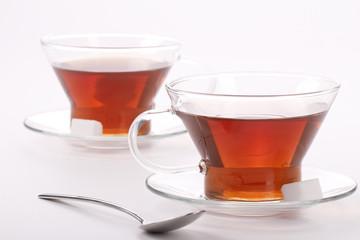 Two elegant cups of black tea