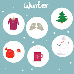 Set of winter things, vector illustration