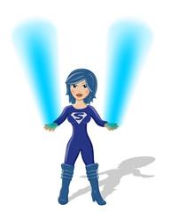 Aluminium Prints Superheroes Supergirl Vektor mit blauem Feuer in den Händen