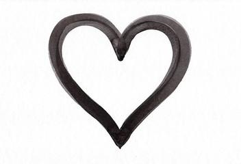 Schwarze Herzform auf weißem Papier Aquarell handgemalt