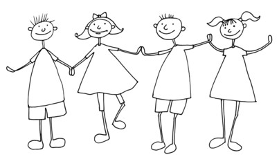 Hand draw cartoon family