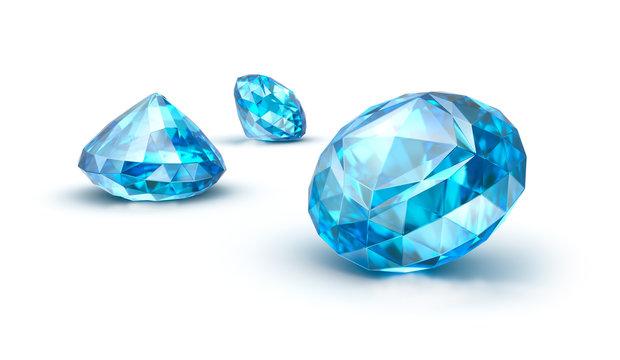 Blue gemstones isolated on white. Sapphire. Topaz. Tanzanite