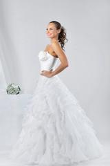 Beautiful female in white wedding dress