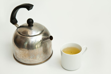 Chinese tea and teapot on white back ground
