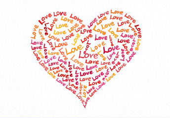 Love Text in Herzform geschrieben Aquarell handgemalt