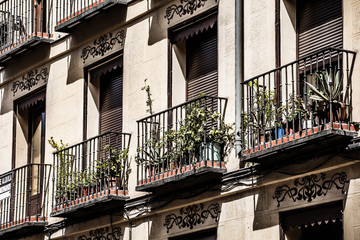 architecture in Spain. Old apartment building in Madrid.