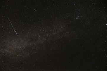 Milky way, Andromeda galaxy and satellite trail