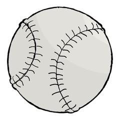hand drawn, vector, cartoon image of baseball ball