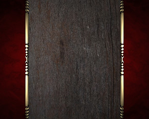Wooden texture with red ribbon on edges and gold trim