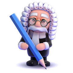 Judge writes with a pencil